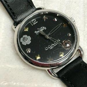 COACH Women's Delancey Black Leather Strap Watch